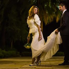 Chrissa and John by Chris Kontoravdis - Wedding Bride & Groom ( wedding photography, walking, wedding, bride, groom,  )