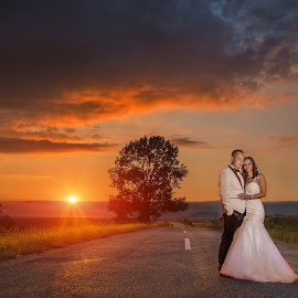 One way by Marius Igas - Wedding Bride & Groom ( wedding photography, sunset, wedding, bride, groom )