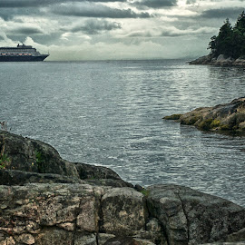 Off to Alaska by Hugh Hazelrigg - Transportation Boats ( clouds, waterscape, tourism, transportation, landscape, vancouver )