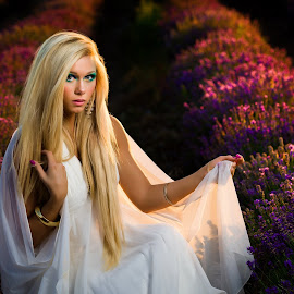 Goddess by David Terry - People Portraits of Women ( lavender fields, beautiful, white dress, lavender, goddess )