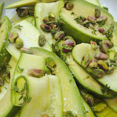 Cook the Book: Zucchini Carpaccio with Avocado, Pistachios, and Pistachio Oil