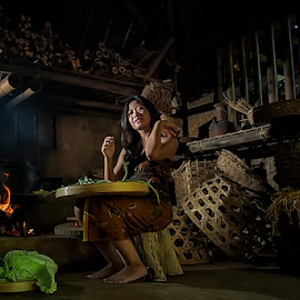 Balinese Women2 by Nyoman Sundra - People Portraits of Women ( bali, traditional, kitchen, people, women )