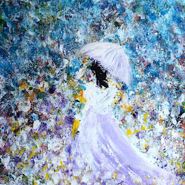 Walk in the Garden by Kume Bryant - Painting All Painting ( joy, yellow, carefree, spring, long dress, caucasian, sky, girl, black hair, woman, happy, flower, umbrella, romantic, white, field, flower petals, female, blue, walk in the garden, outdoor, meadow, purple dress, summer, walk, garden )