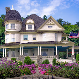 The Brigadoon by Gary Hanson - Buildings & Architecture Other Exteriors ( colorful flowers, bed and breakfast, michigan, brigadoon, mackinaw island, quiet, motorized )