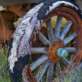 Blow Out by Richard Duerksen - Artistic Objects Antiques ( aetna springs, california, antique car, tire )