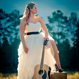 Rockstar Bride by Jody Johnson - Wedding Bride ( vintage, photorad, guitar, bride, country )