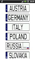 Screenshot of Vehicle registration plates