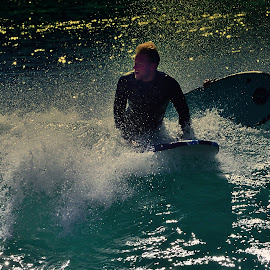 Surfer At The Wedge by Jose Matutina - Sports & Fitness Surfing ( surfer, california, sport, newport beach, the wedge )