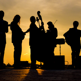 Bluegrass at Sunset by Mike Trahan - People Musicians & Entertainers ( music, sunset, henhouse ramblers, bluegrass, independence grove, silhouette )