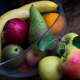 Fruit bowl by Mark Brown - Food & Drink Fruits & Vegetables ( bowl, banana, orange, fruit, fresh, apples, pear )