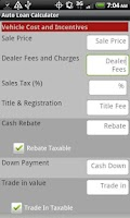Screenshot of Auto Loan Calculator