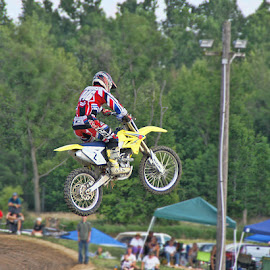 In the Air by Luanne Bullard Everden - Sports & Fitness Motorsports ( jumps, competitions, motorbikes, sports, tracks )