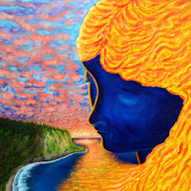 Sunset Lady by Allen Randall - Painting All Painting ( orange, blue, sunset, woman, yellow, hair )