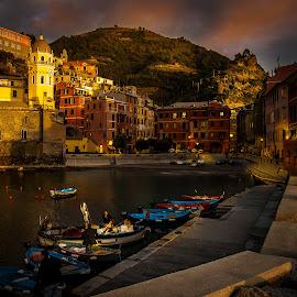 Love of italia by Sheldon Anderson - City,  Street & Park  Vistas ( water, cinque terre, bay, sunset, boats, fishing, italy, city )