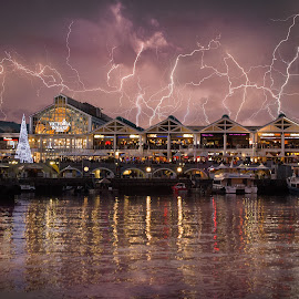 Lightning Waterfront by Jennifer Pillinger-Melnick - City,  Street & Park  Night