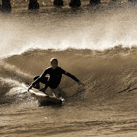 Surfer in HB by Jose Matutina - Sports & Fitness Surfing ( monochrome, b&w, surfer, california, huntington beach,  )