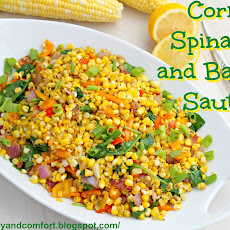 Corn Spinach and Bacon Saute