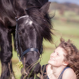 A Bond by Ian Taylor - Animals Horses ( bond, love, fell, pony, grass, horse, lady, special, portrait )