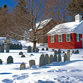 The Tenth Precinct by Jeff Stallard - City,  Street & Park  Cemeteries ( school house, forefathers, 1802, cemetary, chelmsford, massachusetts, burial )