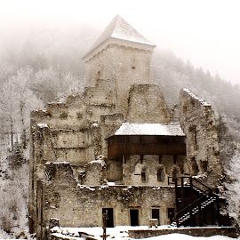Castle Kamen, Slovenia by Iva Aviana - Buildings & Architecture Decaying & Abandoned ( history, winter, fog, snow, kamen slovenia, stone, castle, abandoned )