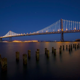 San Francisco Bay Bridge by Curt Lerner - Buildings & Architecture Bridges & Suspended Structures ( water, northern california, california, blue hour, sf bay, bay bridge, bridges, san francisco )
