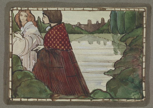Little is known about the purpose or the creator of this drawing. The romantic feel of the scene and its small size (9 x 13.2 cm) indicate it may have been an illustration for a book, with a tentative attribution to Harry Clarke.