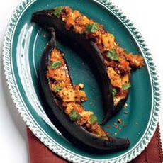 Sweet Plantain Canoes with Spicy Shrimp Picadillo