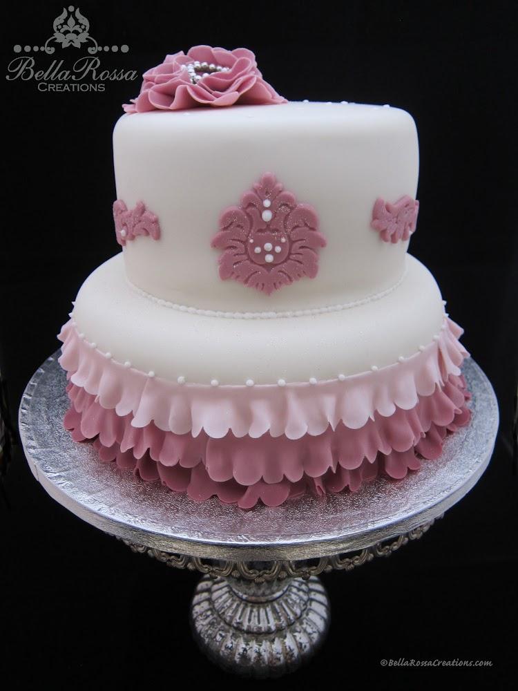 Dusty pink ruffle & lace cake