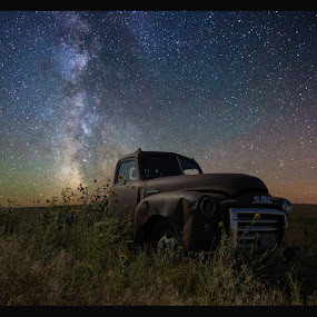 GMC by Aaron Groen - Transportation Automobiles ( gmc resized with border to work on pixoto, pickup, pwcstars-dq, truck, gmc, stars, milky way stars, south dakota, milky way )