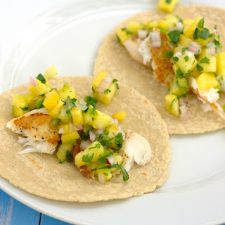 Fish Tacos with Pineapple-Peach Salsa