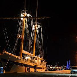 Beautiful  by Petar Paljaga - Transportation Boats ( rijeka, night shots, lights, nofilter, seashore, sailboats, night photography, beautiful, croatia, sea, sailboat, night shot )