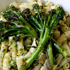 Pistachio Arugula Pesto with Penne and Sauteed Broccolini