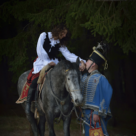 A love tail by Dragos Petrescu - People Couples ( soldier, girl, horse, white, beauty, women )