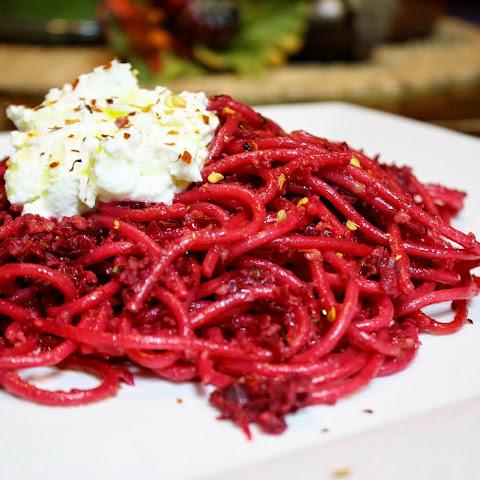 Pasta With Walnut-beet Pesto And Ricotta
