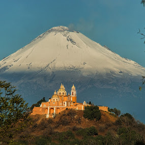Popocagepetl and Church by Alfredo Garciaferro Macchia - Landscapes Mountains & Hills ( volcano, cholula.  popo, mexico, puebla, popocatepetl, snowy volcano )