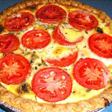 My Special Friday Night Vegetarian Onion and Tomato Quiche