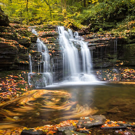 Wyandot Falls by Michael Sharp - Landscapes Waterscapes ( luzerne county, pa, wyandot falls 15', waterfall, fall foliage, pennsylvania, united states, ricketts glen state park )