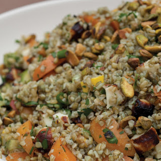 Freekeh Salad with Apricots, Grilled Halloumi and Zucchini
