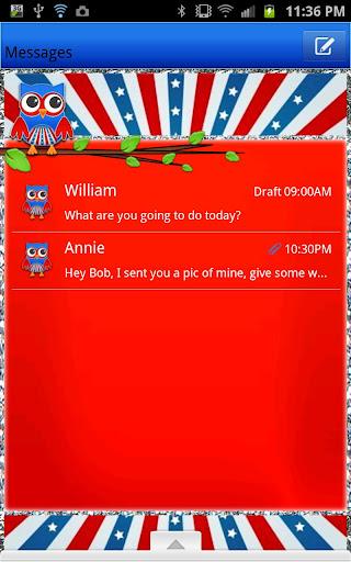 GO SMS - Fourth July Owl