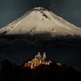 Popocatepetl and Church by Cristobal Garciaferro Rubio - Landscapes Mountains & Hills ( cholula, popo, mexico, puebla, popocatepetl )