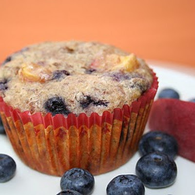Blueberry Peach (and Whey) Muffins