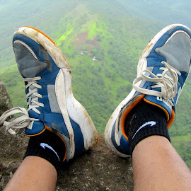 In The Air....!!! by Kapil Shendge - Artistic Objects Clothing & Accessories ( shoes, mountains, sky, sinhagad, rock, india, puma, fort, pune, top,  )