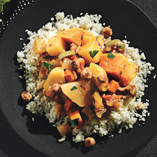 Root Vegetable Tagine with Sweet Potatoes, Carrots, Turnips, and Spice-Roasted Chickpeas