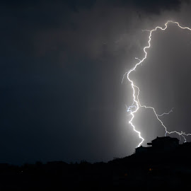 The hill I'm usually on top of when I take lightning photos.  Probably would have felt that one. by Theresa Ditson - Landscapes Weather ( mountains, monsoons, lightning, thunderstorm, arizona )