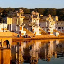 Pushkar, India by Elizabeth M - Buildings & Architecture Office Buildings & Hotels ( #india #yellow #reflections #pushkar #beauty #serene #camelfair )