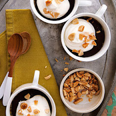 Vanilla Pots de Crème with Dark Chocolate and Roasted Almonds