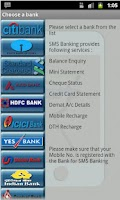 Screenshot of SMS Banking