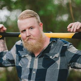 Axe man One by Brooke Price - People Portraits of Men ( outdoor, beard, men, portrait )