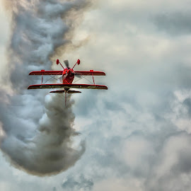Look Ma...no hands by Steve Donnelly - Transportation Airplanes ( clouds, sky, bi plane, smoke )