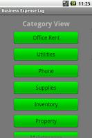 Screenshot of Business Expense Log